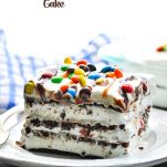 Ice cream sandwich cake recipe with text overlay
