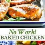 This easy dinner recipe comes together in minutes for a simple No Work Baked Chicken Breasts!