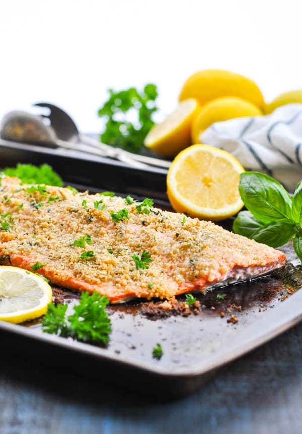 This baked salmon is topped with a crispy golden brown Parmesan crumb!