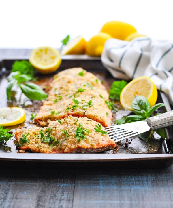 An easy Parmesan Herb Crusted Baked Salmon Fillet is a family friendly healthy dinner recipe!