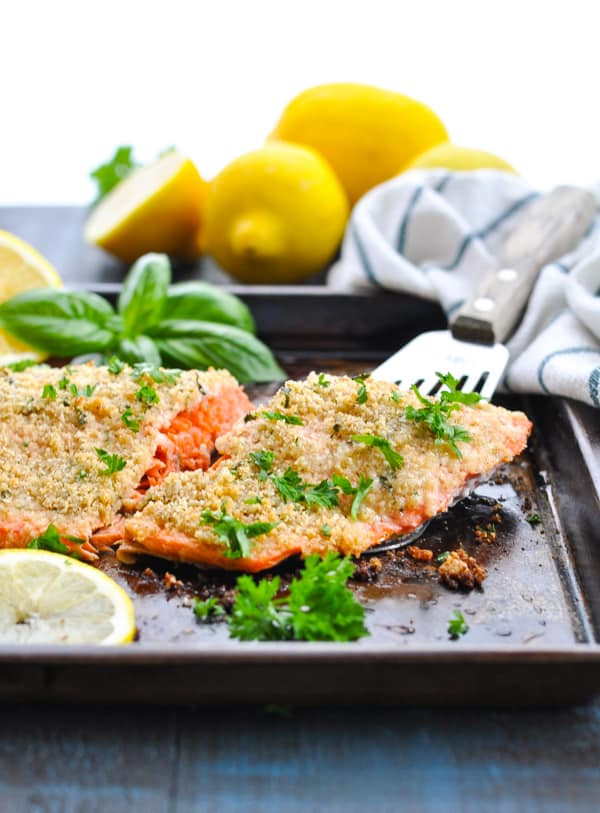 Baked salmon fillet with a crispy golden crumb topping.