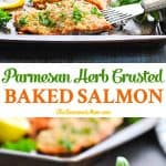 Parmesan Herb Crusted Baked Salmon Fillet is an easy and healthy dinner recipe in 20 minutes!