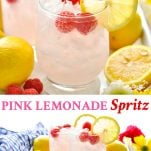 Long collage of Pink Lemonade Italian Spritz Cocktail