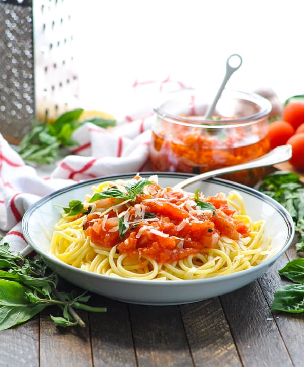 Use your garden fresh tomatoes in this 5 ingredient recipe for pasta pomodoro sauce