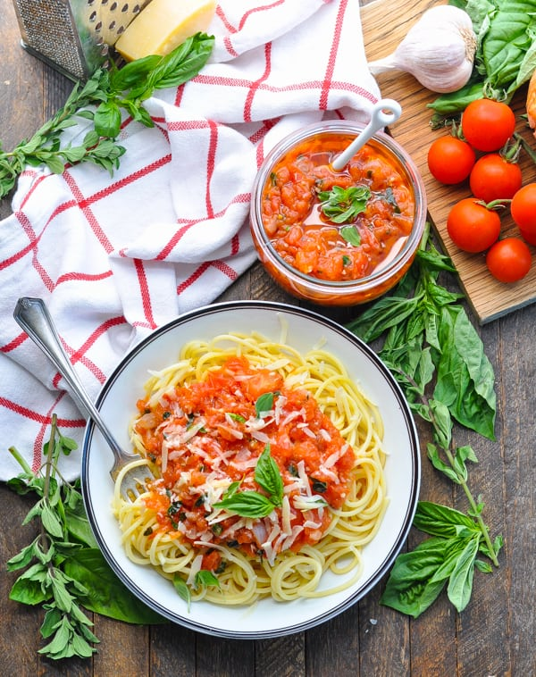 Fresh summer tomatoes and herbs create a delicious pasta pomodoro sauce