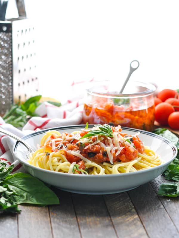 Authentic Italian food is the best like this pasta pomodoro sauce