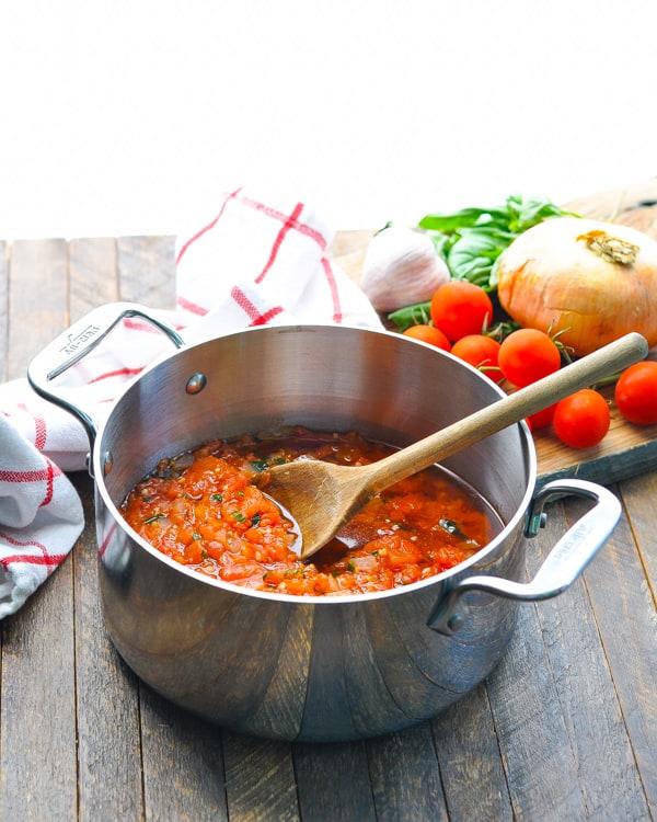 Pot of fresh tomato sauce for pasta pomodoro sauce