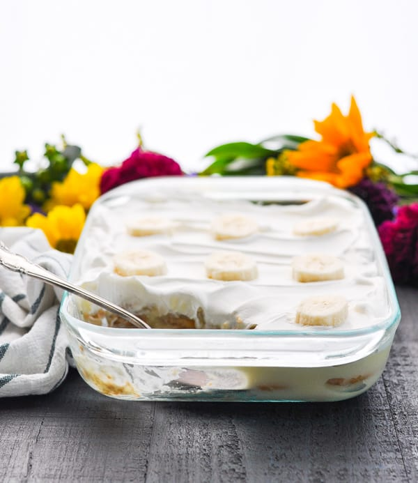 This easy banana pudding with vanilla wafers is a no bake dessert that's perfect for summer!