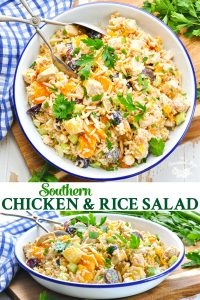 Long collage of Southern Chicken and Rice Salad