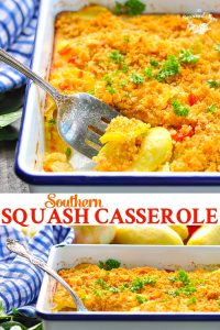 Long collage of Southern Squash Casserole made with yellow summer squash