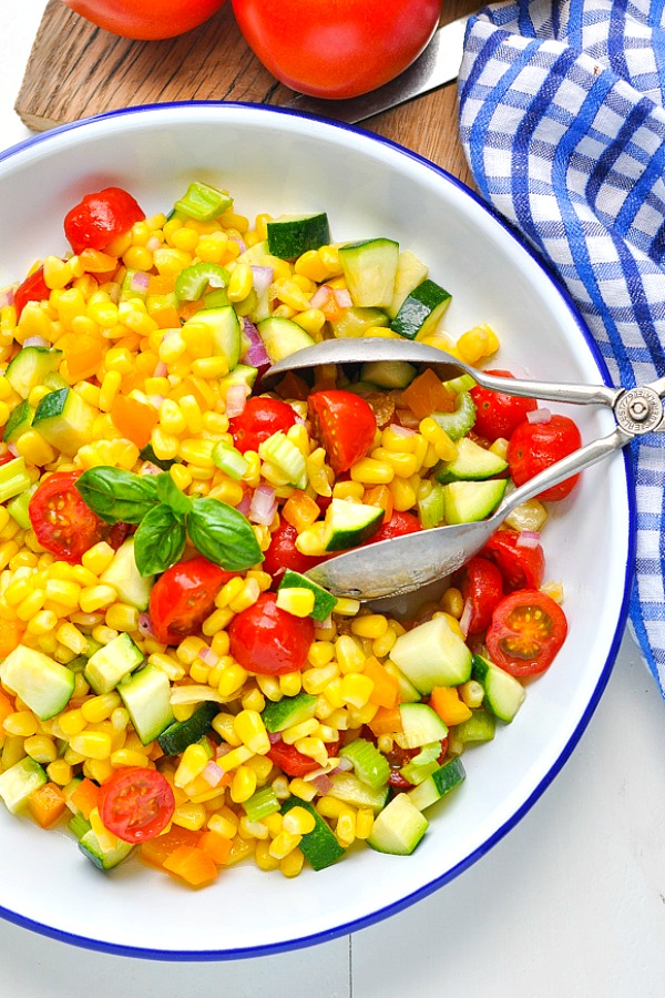 Close overhead shot of a bowl of healthy and easy summer corn salad