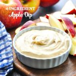 An apple dip with cream cheese and brown sugar is an easy snack for a party