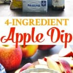 4 Ingredient Cream Cheese Apple Dip is an easy snack recipe for kids