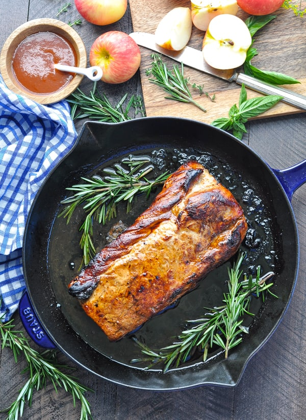 Oven roasted pork loin in a cast iron skillet