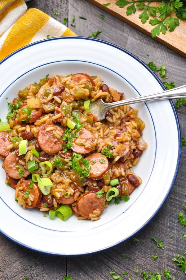 Bowl of red beans and rice with sausage
