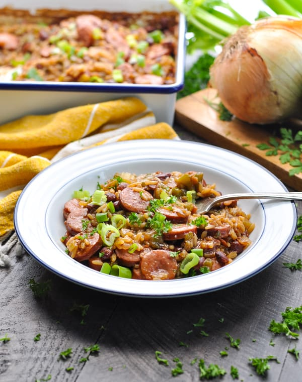 one dish meal of red beans and rice with sausage and vegetables