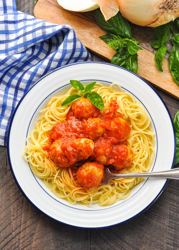 Overhead image of Italian Turkey Meatballs with pasta