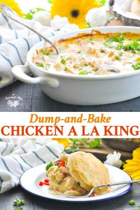 Long collage image of chicken a la king