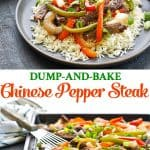 Long collage of Dump and Bake Chinese Pepper Steak