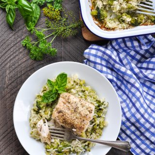 Dump-and-Bake Italian Fish Recipe with Broccoli and Rice