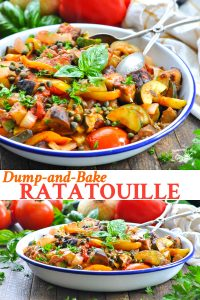 Long collage of dump and bake ratatouille recipe
