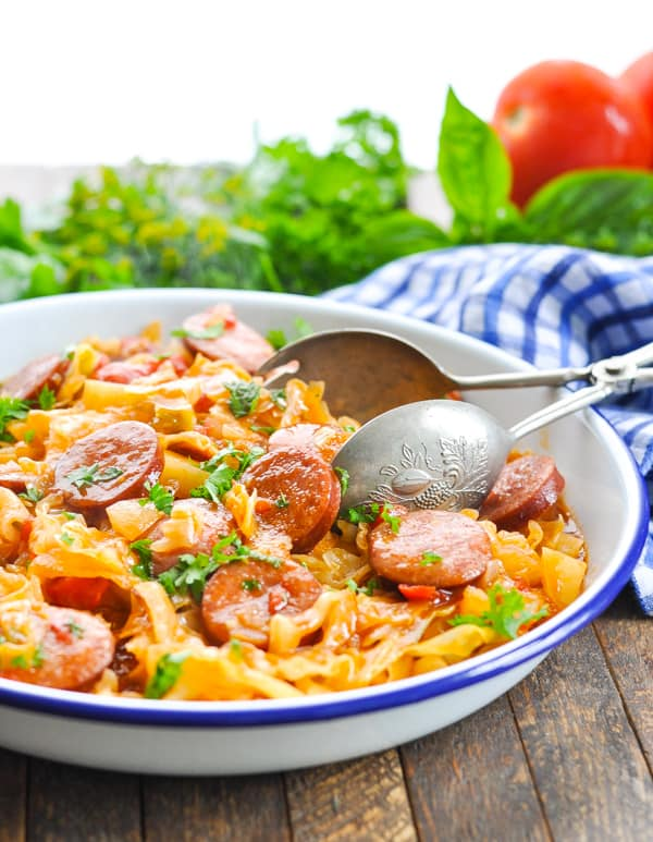 Kielbasa potatoes and cabbage come together in this easy dinner for Sausage and Cabbage!