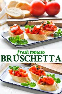 Long collage of Fresh Tomato Bruschetta