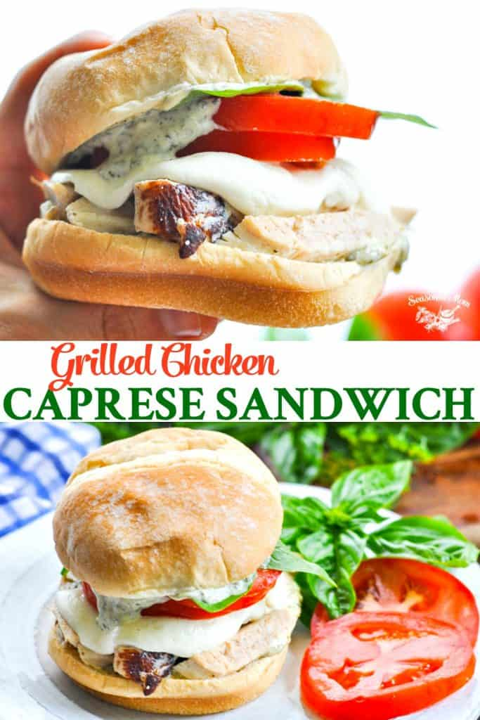 Long collage of Grilled Chicken Caprese Sandwiches