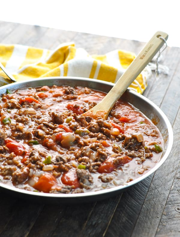 Ground beef with tomato soup for Johnny Marzetti in skillet