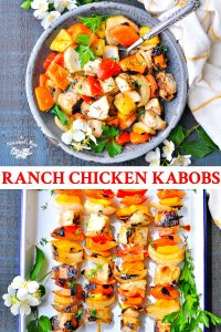 Long collage of Maria's Ranch Chicken Kabobs on the grill