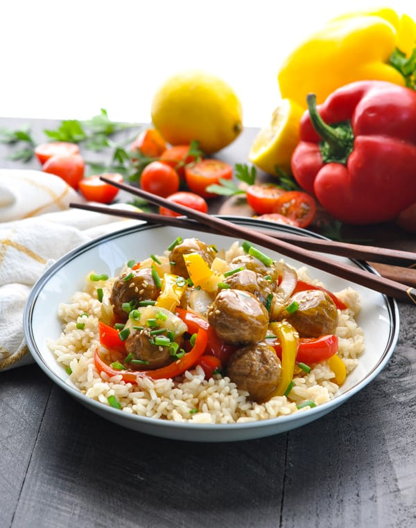 Slow Cooker Chinese Meatballs with Vegetables and Rice