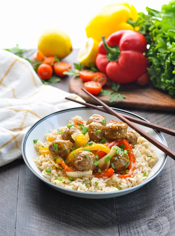Slow Cooker Turkey Meatballs with vegetables over rice