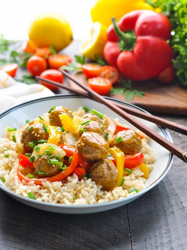 Crock Pot Chinese Meatballs with Peppers and Onions