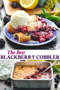 Long collage of the best blackberry cobbler recipe