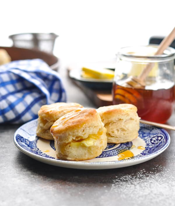 Plate of easy homemade biscuits made with buttermilk