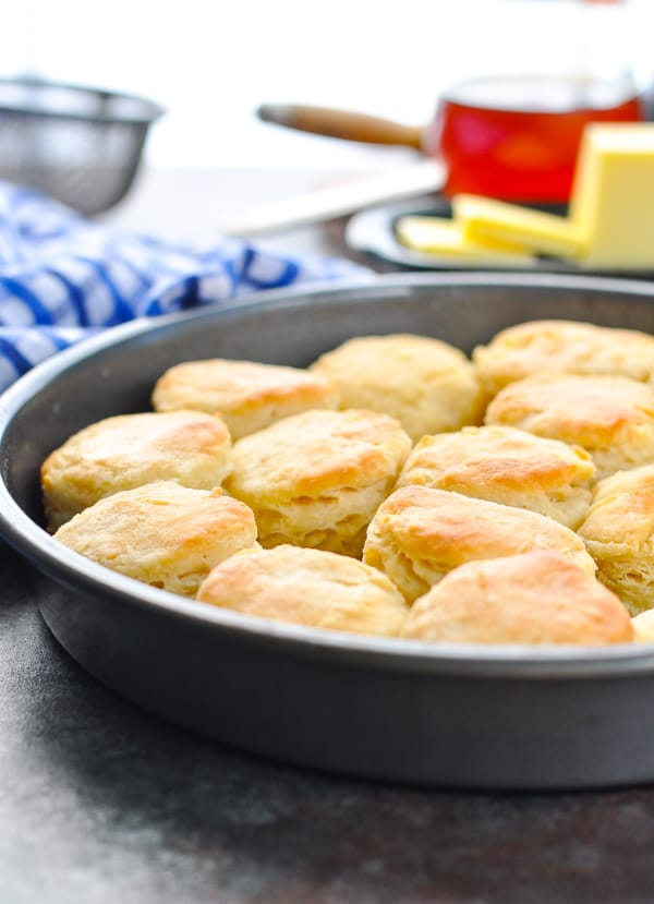 3 ingredient homemade buttermilk biscuits in a pan