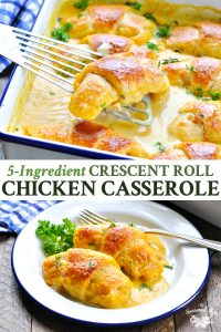 Long collage image of crescent roll chicken casserole