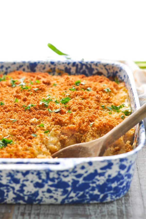 Dump and Bake Cornbread Casserole in dish