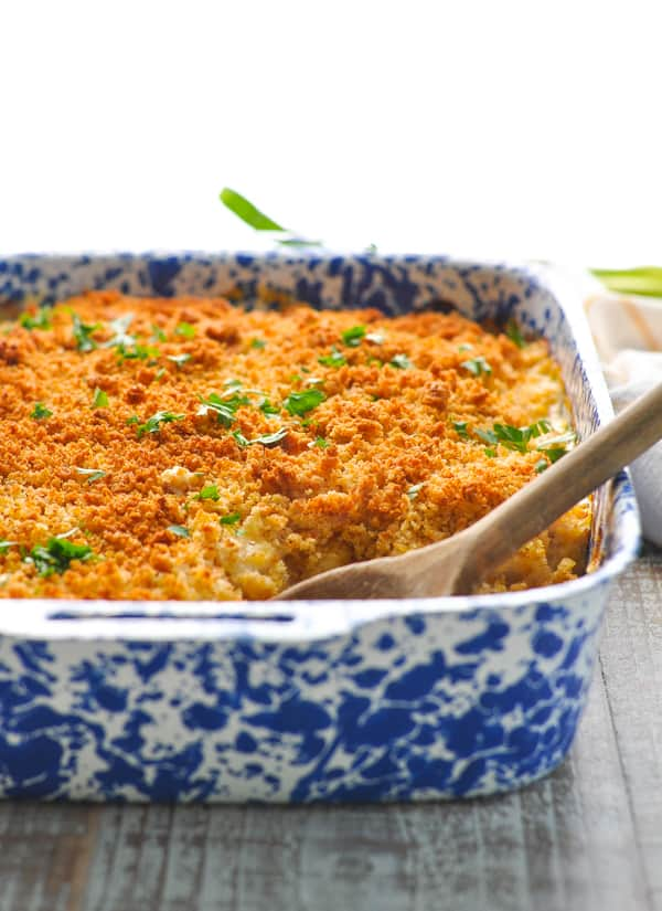 Chicken and Cornbread Casserole in baking dish