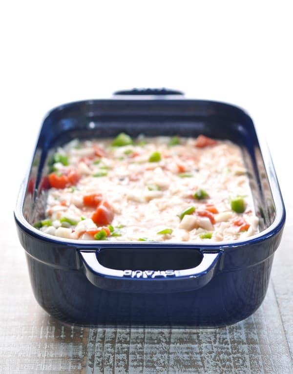 Italian sausage recipe in baking dish