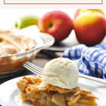 Front shot of a slice of easy apple pie on a plate
