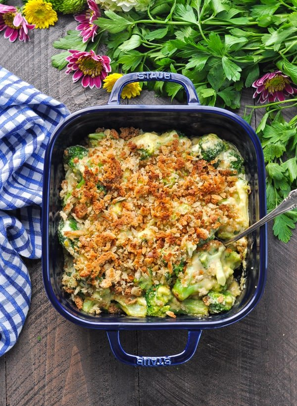 Overhead image of fresh broccoli casserole with crumb topping
