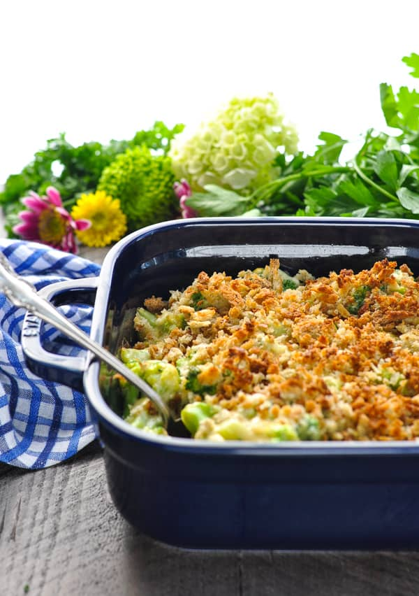 Baked broccoli casserole with stuffing topping