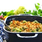 Image of easy broccoli casserole with text overlay