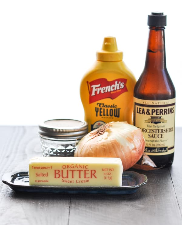 Ingredients for butter spread on ham and cheese sliders