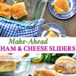 Long vertical image of ham and cheese sliders on a plate and in dish