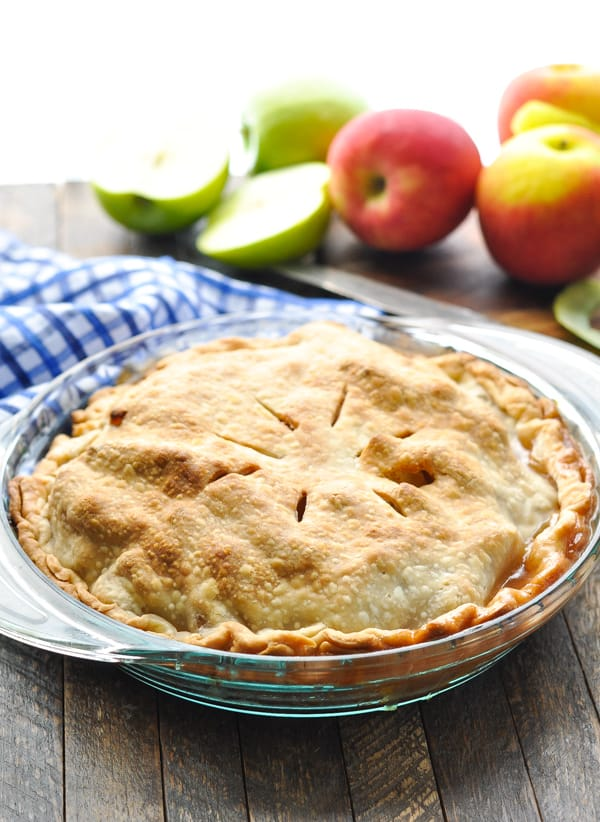 Baked easy apple pie in a glass pie plate