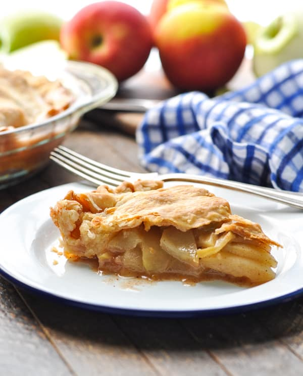 Slice of apple pie on a plate for dessert