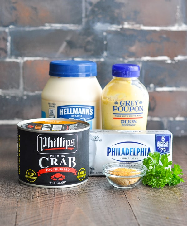 Ingredients for hot or cold crab dip recipe