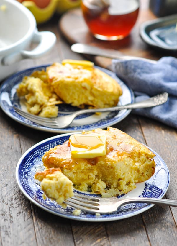Pieces of old fashioned spoon bread on plates